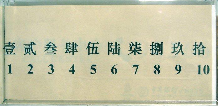 """Un cartello affisso in banca con i numeri in cinese """"maiuscolo"""