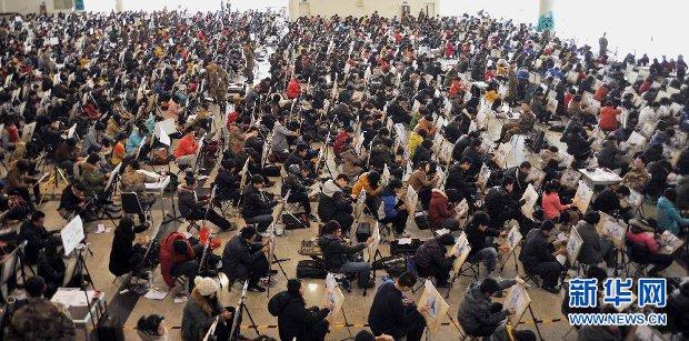 I partecipanti alla selezione nelle accademie d'arte nello Shandong - Cina
